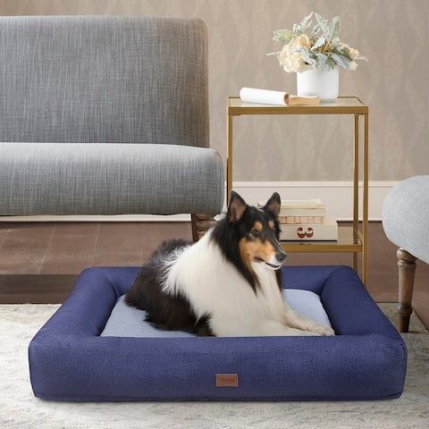 """Martha Stewart Madison Denim Bolster Pet Napper with Removable Cover - 30x40+6.5"""""""