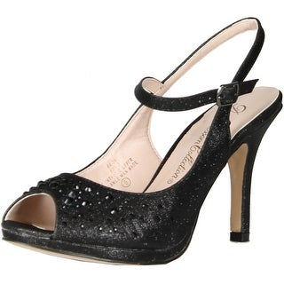Blossom Womens Rob-3 Peep Toe Glitter Rhinestone Slingback Ankle Strap Pumps