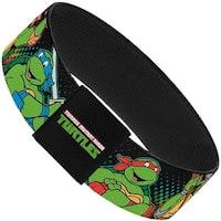 Classic Tmnt Logo2 Turtles & April Pose Halftone Multi Color Black Elastic Elastic Bracelet