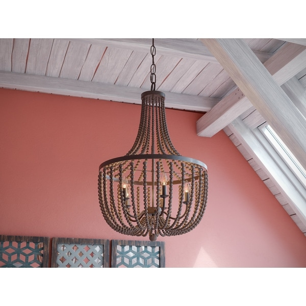 Zander 5 Light Chandelier - Golden Bronze with Gray Wood Beads. Opens flyout.