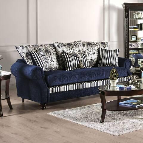 Furniture of America Vinn Traditional Solid Wood Upholstered Sofa