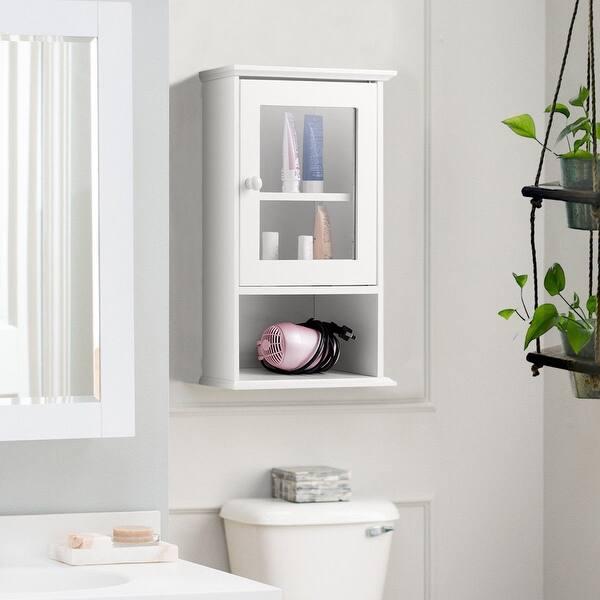 Shop Gymax Wall Mounted Bathroom Cabinet Storage Organize ...