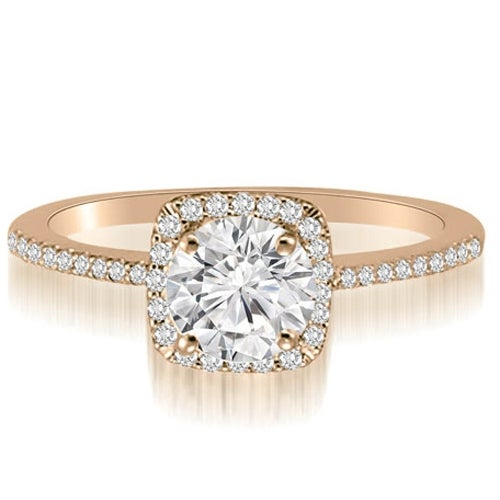 0.70 cttw. 14K Rose Gold Petite Halo Round Cut Diamond Engagement Ring