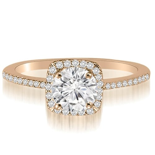 0.95 cttw. 14K Rose Gold Petite Halo Round Cut Diamond Engagement Ring