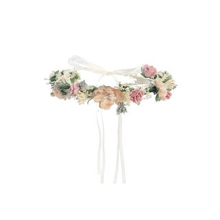 Girls Blush Tan Flower Adorned Ribbon Back Special Occasion Hair Wreath Crown