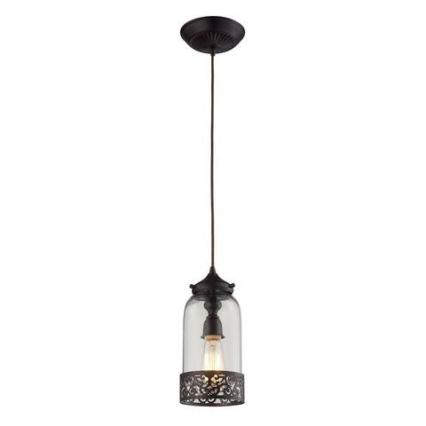 Kingsdown Pleasant - One Light Mini Pendant Oiled Bronze Finish with Frosted Glass with Metal Shade
