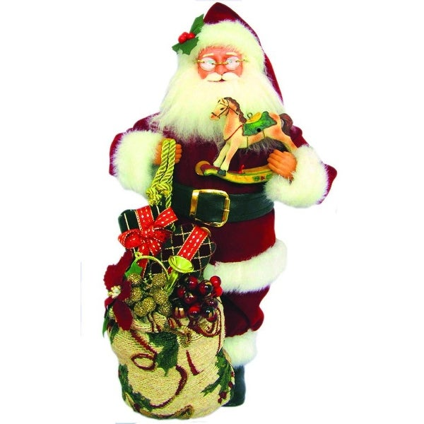 "15"" Traditional Santa Claus Christmas Figure with Rockinghorse and Gift Sack - RED"