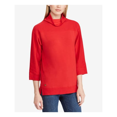 RALPH LAUREN Womens Red Mock Neck 3/4 Sleeve Sweater Size: XS