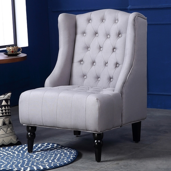 Belleze Modern Wingback Tufted NailHead Accent Chair Linen Tall Back Fabric Wing  Chair, Gray