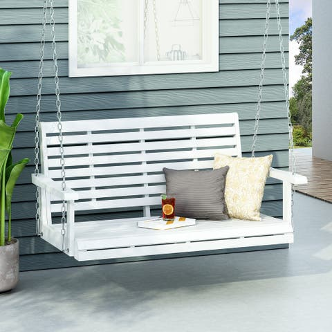 Tasmania Outdoor Acacia Wood Porch Swing by Christopher Knight Home