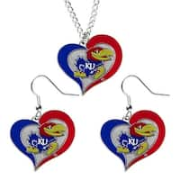 Kansas Jayhawks NCAA Swirl Heart Pendant Necklace And Earring Set Charm Gift