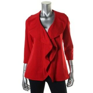 Calvin Klein Womens Petites Knit 3/4 Sleeve Open-Front Blazer - 2p
