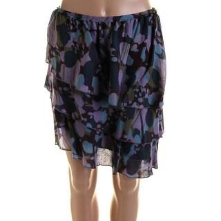 Catherine Malandrino Womens Printed Above Knee Tiered Skirt - 4