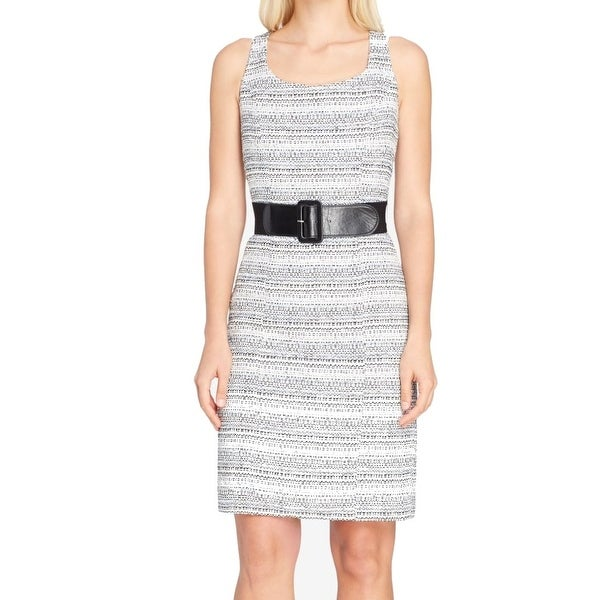 299e50f6 Shop Tahari by ASL White Womens Size 4 Belted Tweed Sheath Dress - Free  Shipping On Orders Over $45 - Overstock - 27199047