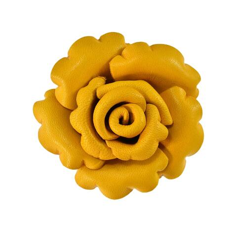 Handmade nchanted Colorful Rose Blossom Genuine Leather Brooch or Pin (Thailand)