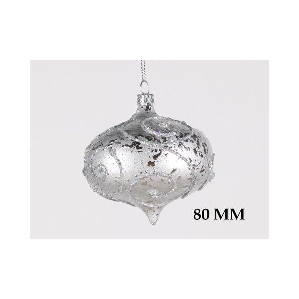 Christmas at Winterland WL-ONION-80-SLV 3 Inch Onion Ornament Silver with Silver Glitter