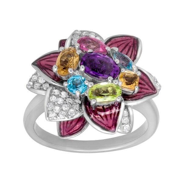 1 3/4 ct Multi-Stone Flower Ring in Sterling Silver - Purple