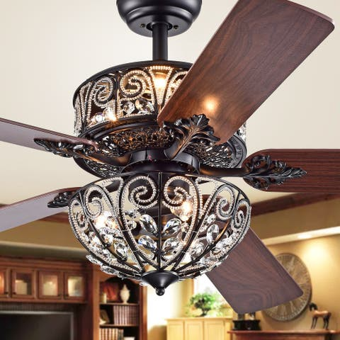 Tisaphon Dual Lamp Crystal Lighted Fan Chandelier - 52-inches Diameter - 52-inches Diameter