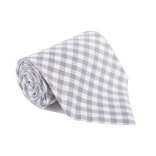 Tom Ford Mens Plaid Check Ivory Dark Grey Cotton Classic Tie - One size