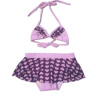 Little Girls Purple Lavender Heart Lovely Triangle 2 Pc Bikini Swimsuit
