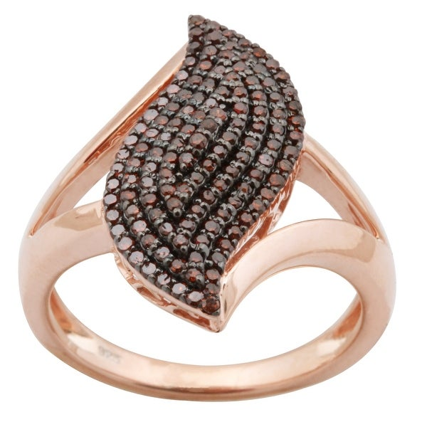 Brand New 0.51 Carat Real Cognac Diamond Designer Cluster Ring