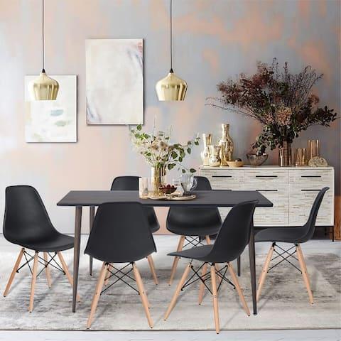 Furniture R Modern Mid-century 7 Pieces Plastic Dining Set