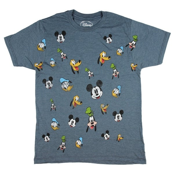 167f777a7d Disney Men's Mickey and Friends Faces Distressed Print Heather T-Shirt