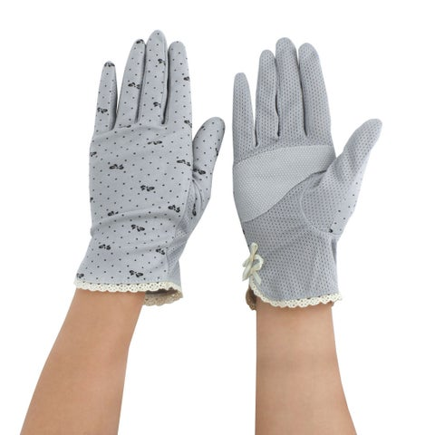 Women Motorcycle Riding Dot Pattern Sun Resistant Gloves Protector Gray #2