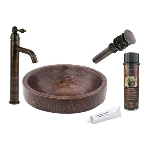 Premier Copper Products BSP1_VR15SKDB Vessel Sink, Faucet and Accessories Package