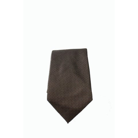 Vince Camuto Brown One Size Silk Geometric Printed Neck Tie