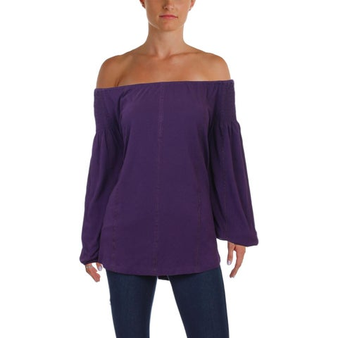 Lauren Ralph Lauren Womens Blouse Embroidered Off-The-Shoulder
