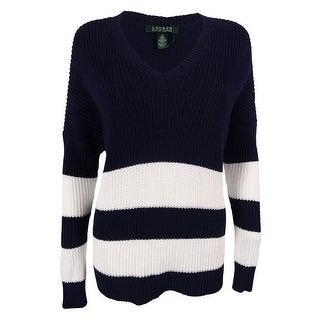 Ralph Lauren Women's V-Neck Striped Sweater