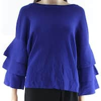 INC Bright Blue Womens Size Medium M Tiered Sleeve Solid Knit Top