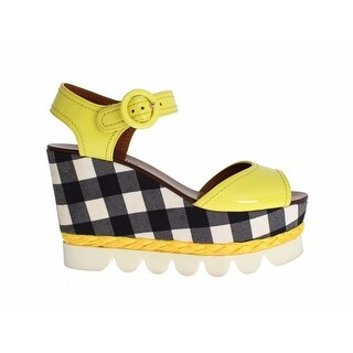 Dolce & Gabbana Yellow Leather Check Wedges Platform - 40