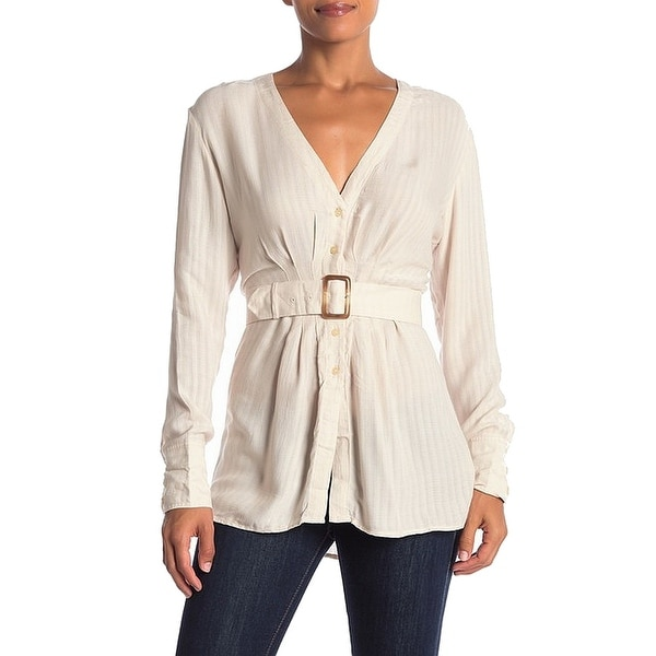 0f51ebb8a Shop Free People Beige Womens Size XS V-Neck Belted Button Down ...