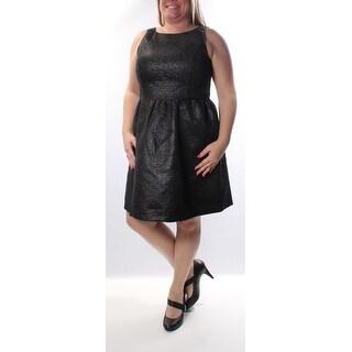 Womens Black Sleeveless Knee Length A-Line Cocktail Dress Size: L