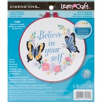 """Learn-A-Craft Believe In Yourself Crewel Embroidery Kit-6"""" Round Stitched In Thread"""