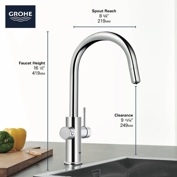 Grohe 31 251 2 Blue 2.0 1.75 GPM Single Hole Pull Out Kitchen Faucet