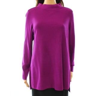 Alfani NEW Purple Iris Glow Womens Size Large L Tunic Mock Neck Sweater