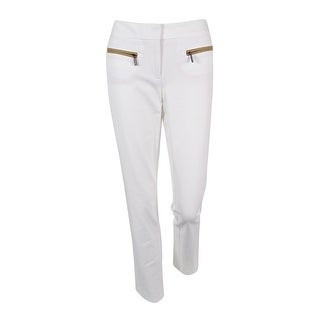 Alfani Women's Faux Leather Pocket Slim Trousers (2, Bright White) - 2
