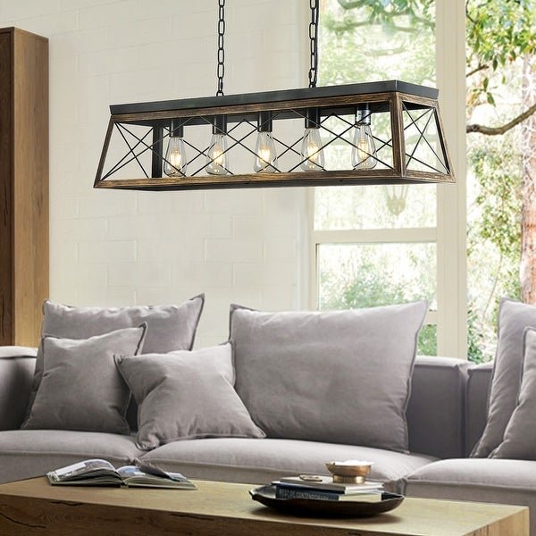 5-Lights Square/Rectangle Island Chandelier with Antique Brass. Opens flyout.