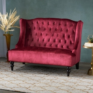 Link to Leora Modern Glam Tufted Velvet Wingback Loveseat by Christopher Knight Home Similar Items in Living Room Furniture