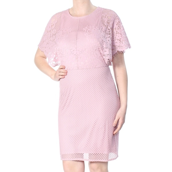 Dkny Womens Pink Lace Flutter Sleeve Jewel Neck Knee Length Sheath Formal Dress Size 10