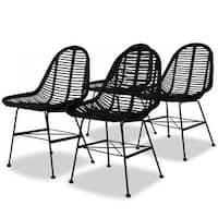 vidaXL Dining Chairs 4 pcs Natural Rattan Black