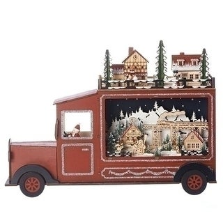 13 LED Christmas Village Truck Table Top Decoration