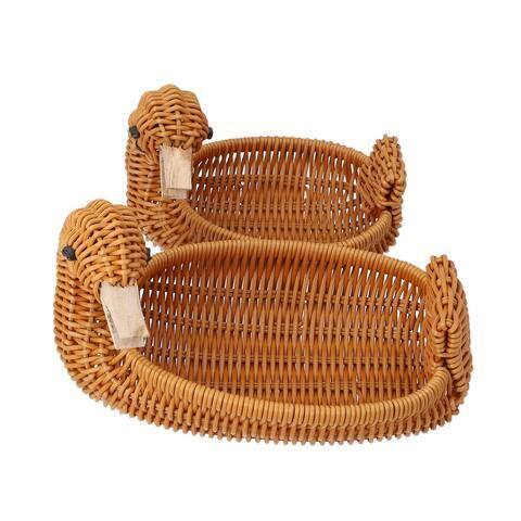 Shop LC Set of 2 Beige Multi Purpose Durable Duck Shape Rattan Basket
