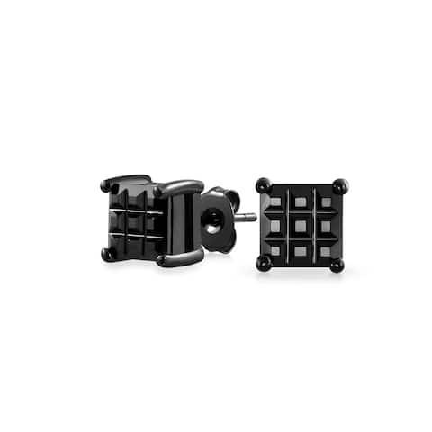 Square Black Invisible Cut Square CZ Checkboard Stud Earrings For Men For Women Black 925 Sterling Silver More Sizes