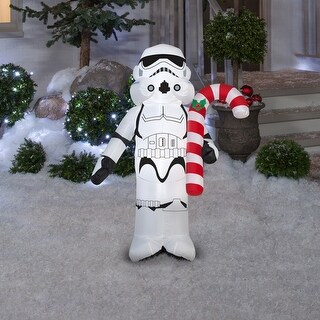 """Gemmy 37344 Christmas Airblown Star Wars Stormtrooper Holding Can Inflatable, White/Black, Fabric, 24"""""""
