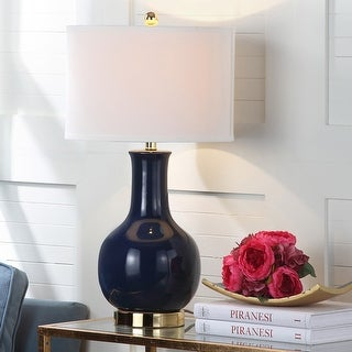 """Link to Safavieh Lighting 28-inch Louvre Royal Blue Table Lamp - 15""""x15""""x27.5"""" Similar Items in Table Lamps"""