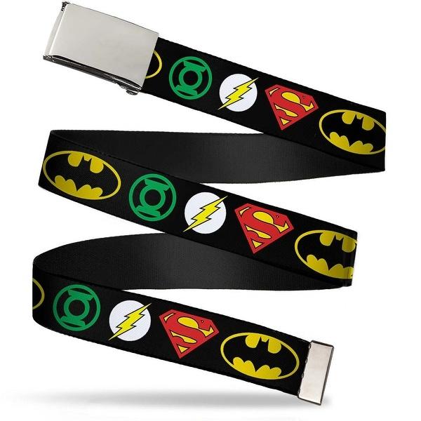 Blank Chrome Buckle Justice League Superhero Logos Webbing Web Belt